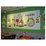 Grafische schildering Schildering eetcafé Te Koop 1,50 x 4,00 meter