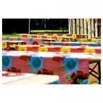 <p>Verschillende kleuren tafelzeil</p> <p>€ 5,00 p/s VERHUUR</p> <p>30 stuks / 6 verschillende designs</p>