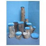 boomstamkrukjes <p>v.a. € 12,50 p/s VERHUUR</p> <p>9 stuks / verschillende hoogtes / hout</p>