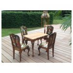 meubilair borduursel <p>€ 150,00 VERHUUR</p> <p>4 stoelen en tafel / hout met borduursel</p>